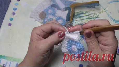 Фриформ,витой или почтовый столбик,пуговичка и тунисское вязание