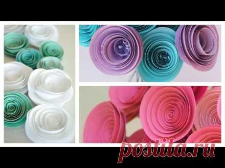 Цветы из бумаги, по спирали, своими руками, очень легко и просто