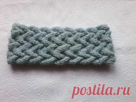 Вязание повязки на голову узором из кос.