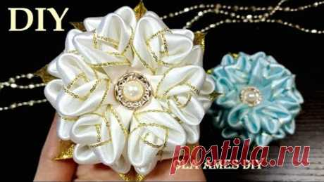 Ribbon Flowers| Цветы-снежинки из лент Канзаши новинки| Easy Flower Making| Ribbon Tricks| Ola ameS