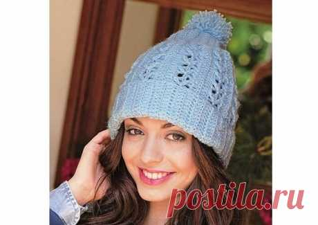 Ажурная шапка с помпоном крючком | Моё хобби.Вязание для женщин. | Яндекс Дзен