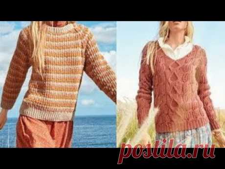 Подборка Женских Пуловеров спицами со схемами/Selection of Women's Knitting Pullovers with patterns - YouTube