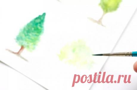 РИСУЕМ ДЕРЕВЬЯ АКВАРЕЛЬЮ часть 2 | Уроки рисования с Тессой Арт | Яндекс Дзен