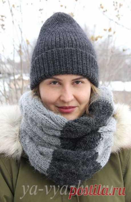 Теперь и для дочерей: шапка и шарф-снуд спицами | Вязальное настроение...