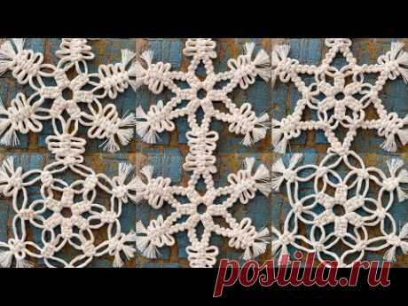 Tutorial Macrame Christmas SnowFlakes - YouTube Использованный шпагат хлопковый 2 мм. На 1 снежинку ~ 75 см нужно 12 веревок. Готовая снежинка d - 14 см.