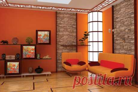 Orange wall-paper in an interior of kitchen bright flizelinovy in the hall, vinyl with drawing in a nursery and a bedroom, an orange shade of walls in a drawing room