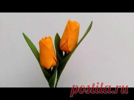 DIY Felt Flowers Tulip   Cara Membuat Bunga Flanel Tulip