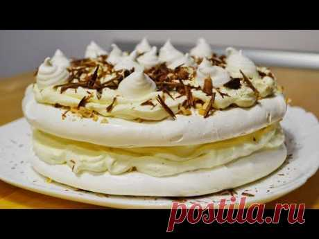 "Торт Безе с Кремом ""Пломбир"" (Швейцарская меренга) Cake with Merenga and Cream Plombir"