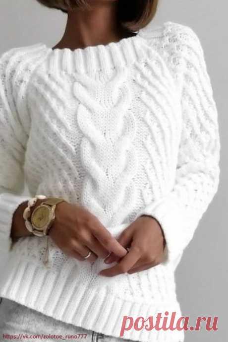 ПУЛОВЕР БЕЛЫЙ СПИЦАМИ С ЦЕНТРАЛЬНОЙ КОСОЙ. Пуловер этой модели – комфортный и стильный элемент женского гардероба. Модель украшает узор «сетка» из вытянутых петель и оригинальная коса по центру.  Размер 38/40  ВАМ ПОТРЕБУЕТСЯ ПРЯЖА 600-700г пряжи Cara (80 % мериносовой шерсти, 20 % акрила, 75м/50г)  СПИЦЫ Прямые спицы № 8-9 Круговые спицы №8  Резинка: кром, * 2 лиц., 2 изн.,2 лиц.* кром.  Основной узор: «сетка» из вытянутых петель  Коса ( ширина 20 петель.)  1-й, 3-й,5-й,9...