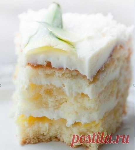 Пина Колада бисквитный торт