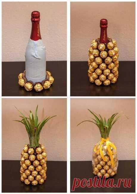 Бутылки: переделка с конфетами — DIYIdeas