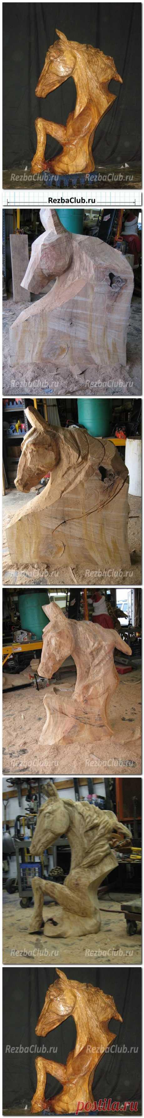 #377 Голова лошади — скульптура бензопилой | Резьба Клуб