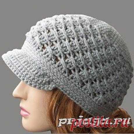 Вязание крючком шапки для женщин с вытянутыми столбиками