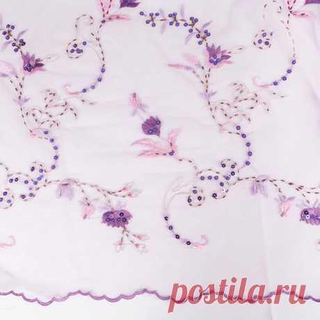 """Вышивка на сетке''Эдельвейс"""" (сиреневый) - купить ткань онлайн через интернет-магазин ВСЕ ТКАНИ"""