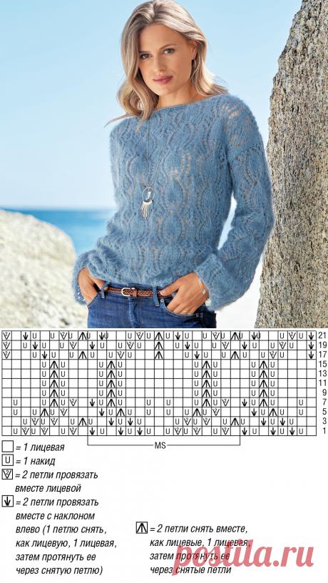 Голубой ажурный джемпер из мохера - схема вязания спицами. Вяжем Джемперы на Verena.ru