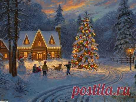 Скачать обои Праздники Mark Keathley, Новый год, елка, дети, снеговик на рабочий стол 1600x1200