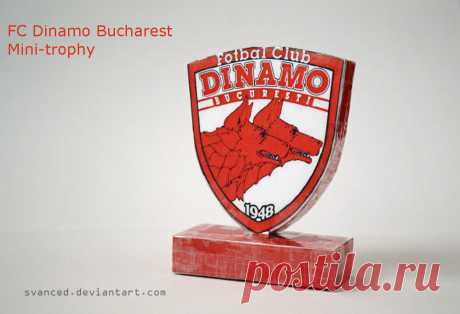 "[REQ] Fc Dinamo Bucharest Papercraft+DOWNLOAD A little trophy with the emblem of the football club,Dinamo Bucharest. Based on models from this site:[link] (scroll down,go to left side,and click ""Papercraft Fútbol (58)"" Made by me,requested by ..."