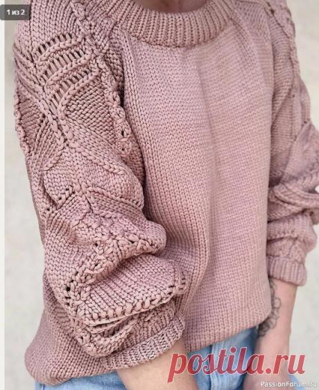 ПУЛОВЕР СПИЦАМИ С ЯПОНСКИМ УЗОРОМ НА РУКАВАХ | Вязание для женщин спицами. Схемы вязания спицами