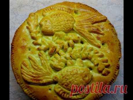 Пирог с рисом и рыбными консервами.  Просто, из доступных продуктов. Тесто которое всегда получается