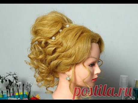 Романтическая прическа для длинных волос. Romantic hairstyle for long hair - YouTube