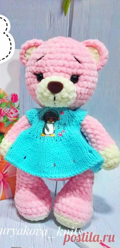 PDF Мишка Марта крючком. FREE crochet pattern; Аmigurumi animal patterns. Амигуруми схемы и описания на русском. Вязаные игрушки и поделки своими руками #amimore - плюшевый медведь, медвежонок, мишка из плюшевой пряжи.