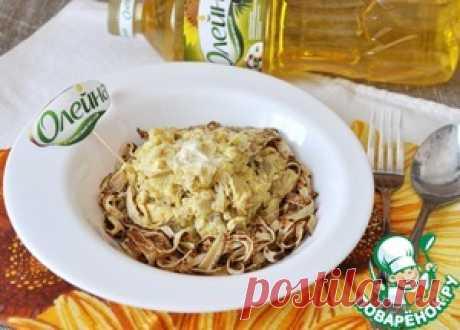 """Блинные """"спагетти"""" со сливочно-куриным соусом - кулинарный рецепт"""