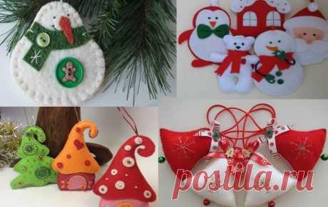 Новогодние игрушки из фетра своими руками с выкройками, схемами и шаблонами.