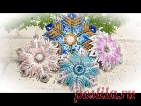❄️ Снежинки своими руками из лент канзаши ❄️ diy christmas ornaments snowflake - YouTube