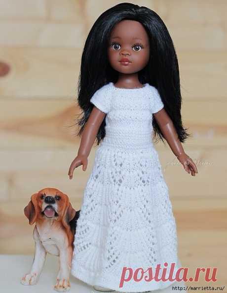 Вязание спицами ажурного платья для маленькой куколки