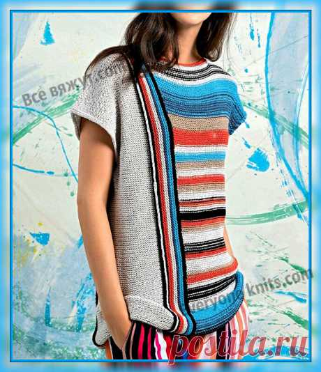 Яркий топ асимметричным рисунком из цветных полос спицами. | Все вяжут.сом/Everyone knits.com | Яндекс Дзен