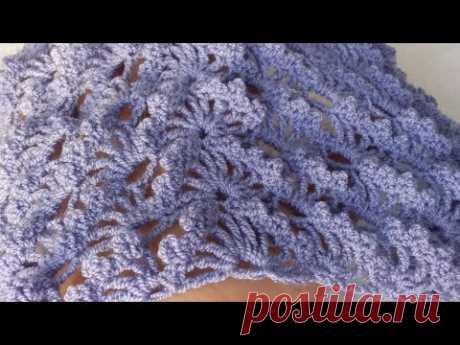 Красивый узор для шали ,косынки Вязание крючком
