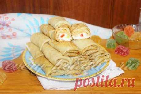 Заварные блинчики с творогом и мармеладом, рецепт с фото пошагово