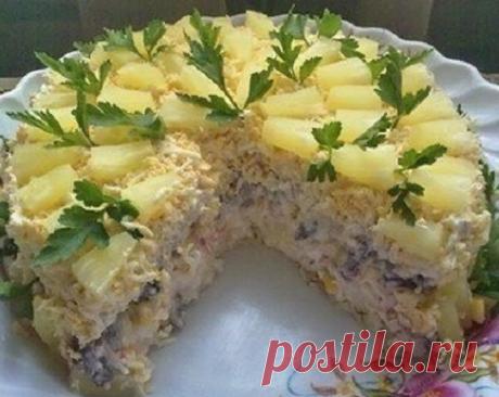 Слоёный салат с курицей, ананасами и шампиньонами   Блоги о даче и огороде, рецептах, красоте и правильном питании, рыбалке, ремонте и интерьере