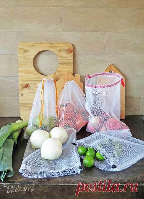 Многоразовые тканевые мешки для фруктов и овощей