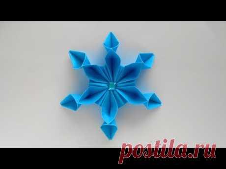 Снежинка из бумаги ❄ Оригами Снежинки на Новый год 2019 - YouTube