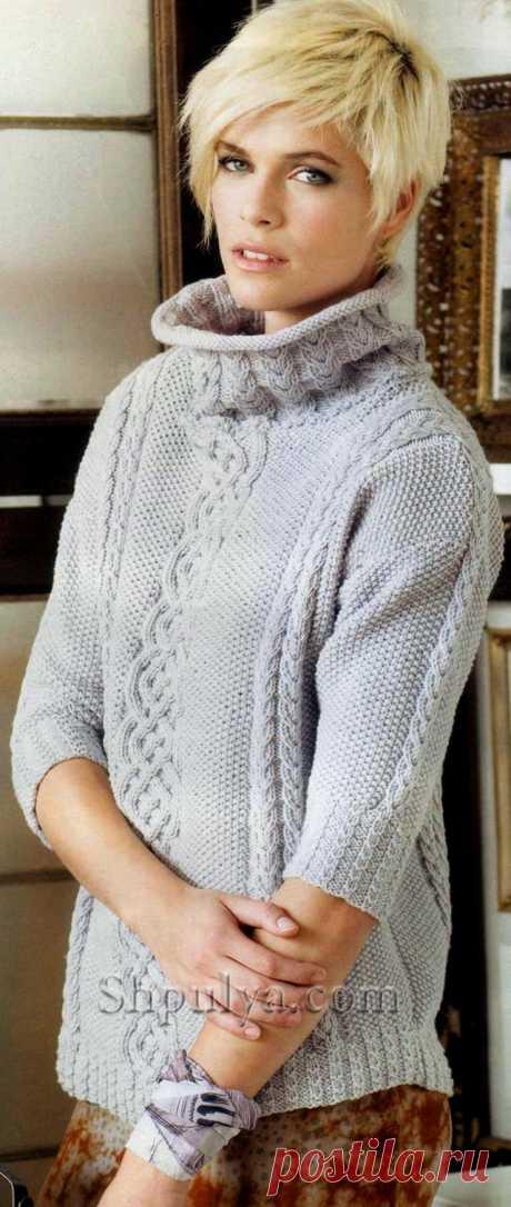 Пуловер с аранами и укороченными рукавами — Shpulya.com - схемы с описанием для вязания спицами и крючком