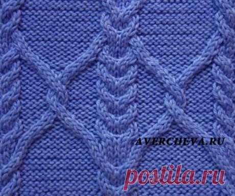 Узор спицами для свитера 1024 | каталог вязаных спицами узоров
