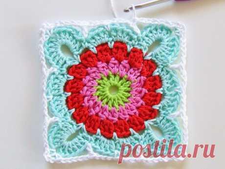 Квадрат с цветком для вязания пледа (и не только!). Мастер-класс.