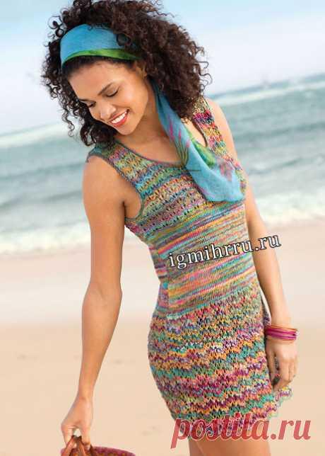 Летняя туника (мини платье) с волнистым и ажурным узорами