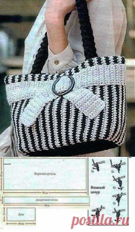 Вязаная крючком полосатая сумка » Eajenshina.ru - самый популярный сайт среди женщин всех возрастов