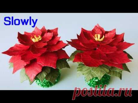 ABC TV | How To Make Mini Poinsettia Paper Flower | Flower Die Cuts (Slowly) - Craft Tutorial