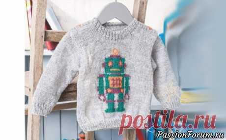 Детский пуловер с мотивом робота
