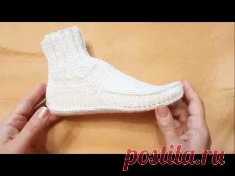Супер белые носки двумя спицами без шва. Просто и красиво. Носки следки спицами.