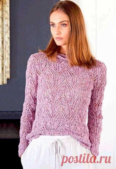 """Пуловер, модели спицами/ ажурный в пастельных тонах, шелковый сетчатый,ажурный меланжевый/описание+схемы.   Вязание """"Мир узоров""""   Яндекс Дзен"""