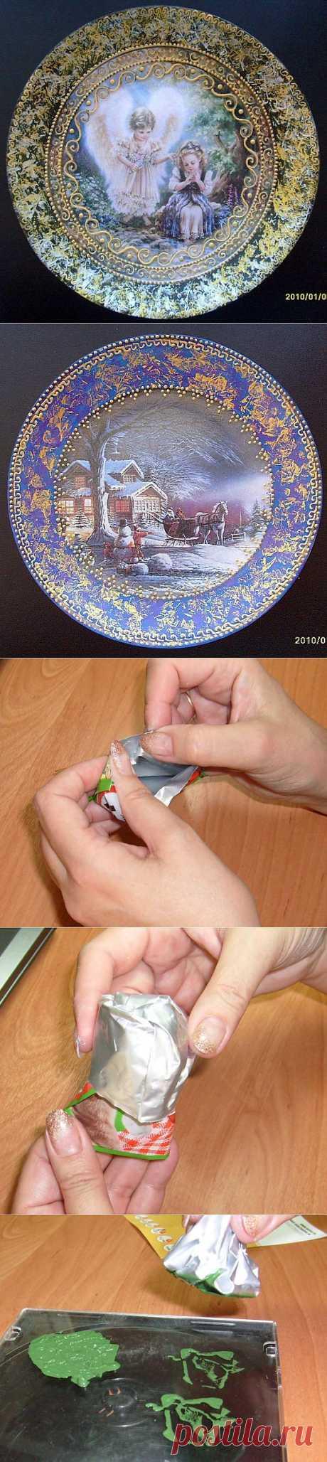 Декупаж тарелок. Как сделать фон пакетом. .