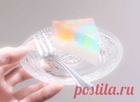 Японский рецепт радужного прозрачного торта Агар-агар Можно приготовить за полчаса.