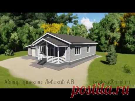 """Проект одноэтажного дома с тремя спальнями """"Торонто"""" из деревянного каркаса с гаражом"""
