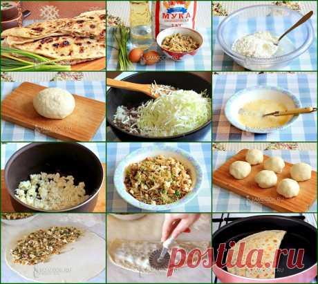 ЛЕПЕШКИ С НАЧИНКОЙ НА СКОВОРОДЕ  Рецепт вкуснейших лепешек с начинкой из мясного фарша, яйца и капусты на сковороде.  Тесто: Вода - 200 мl Соль - 0.5 ч.л. Масло растительное - 3 ст.л. Мука - 400 г  Начинка: Фарш - 150 г Капуста - 250 г Лук репчатый - 1 шт. Яйцо - 2 шт. Лук зеленый - 1 пучок Масло растительное - 3 ст.л. Соль Перец Чеснок Зелень Сливочное масло - для смазки лепешек