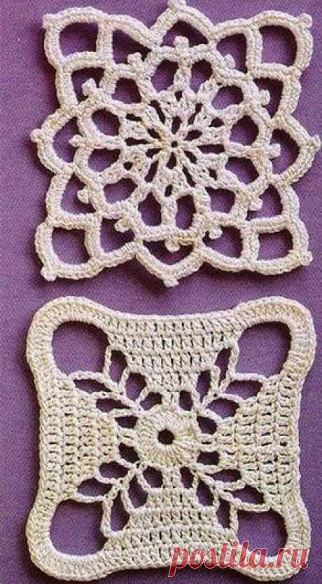 Квадратный мотив крючком | Рукоделие и вязание