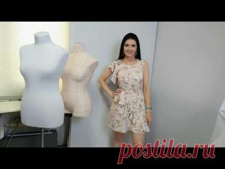 Как сшить платье с воланами? МК моделирование от базовой основы